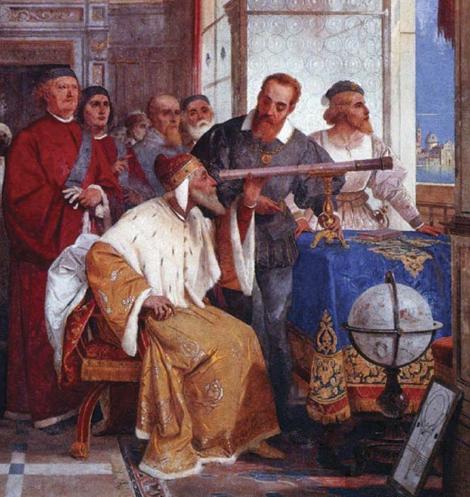 Galileo Galilei ukazuje Benátskemu dóžovi ako používať ďalekohľad (freska od Giuseppe Bertiniho)