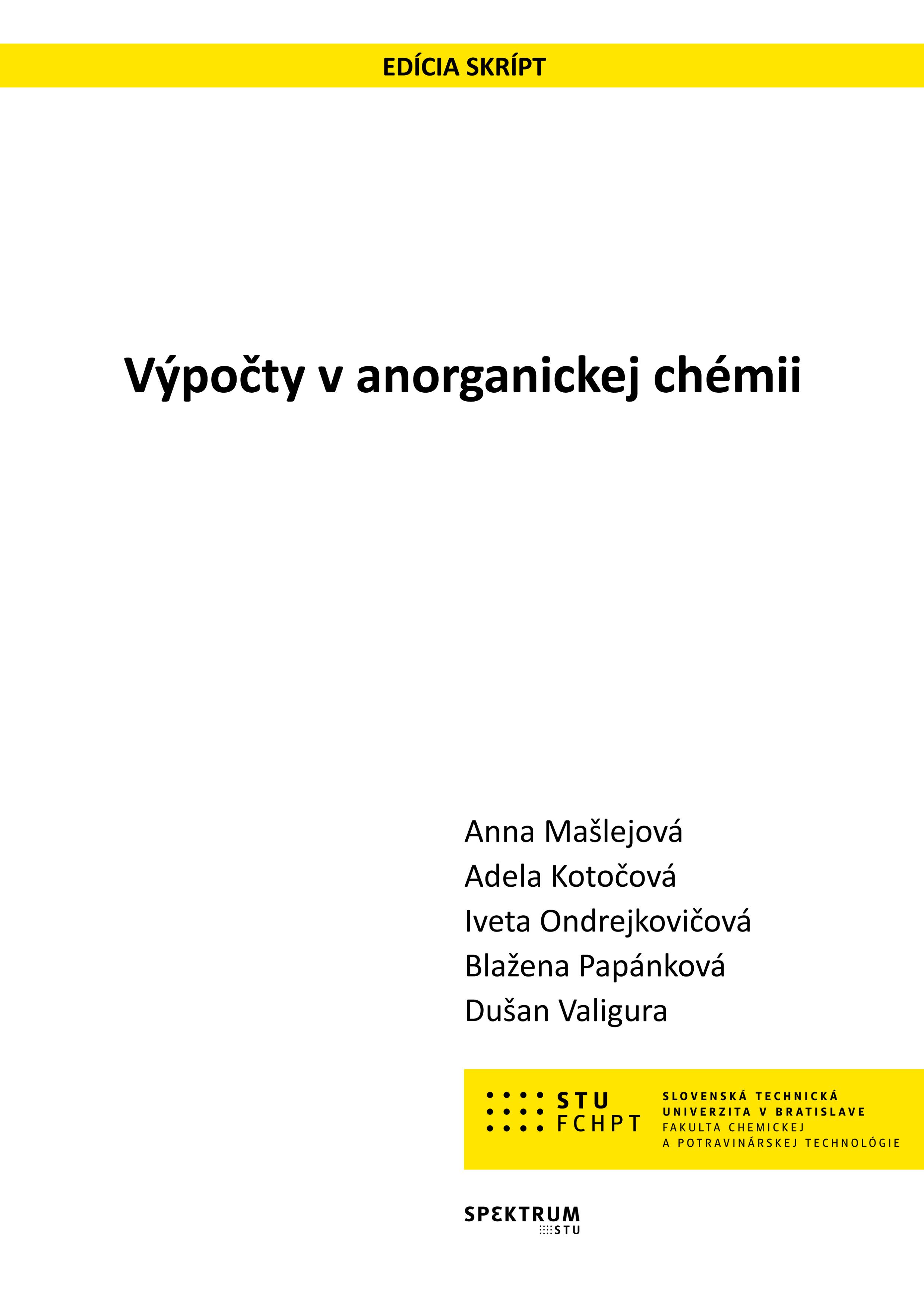 Výpočty v anorganickej chémii 1