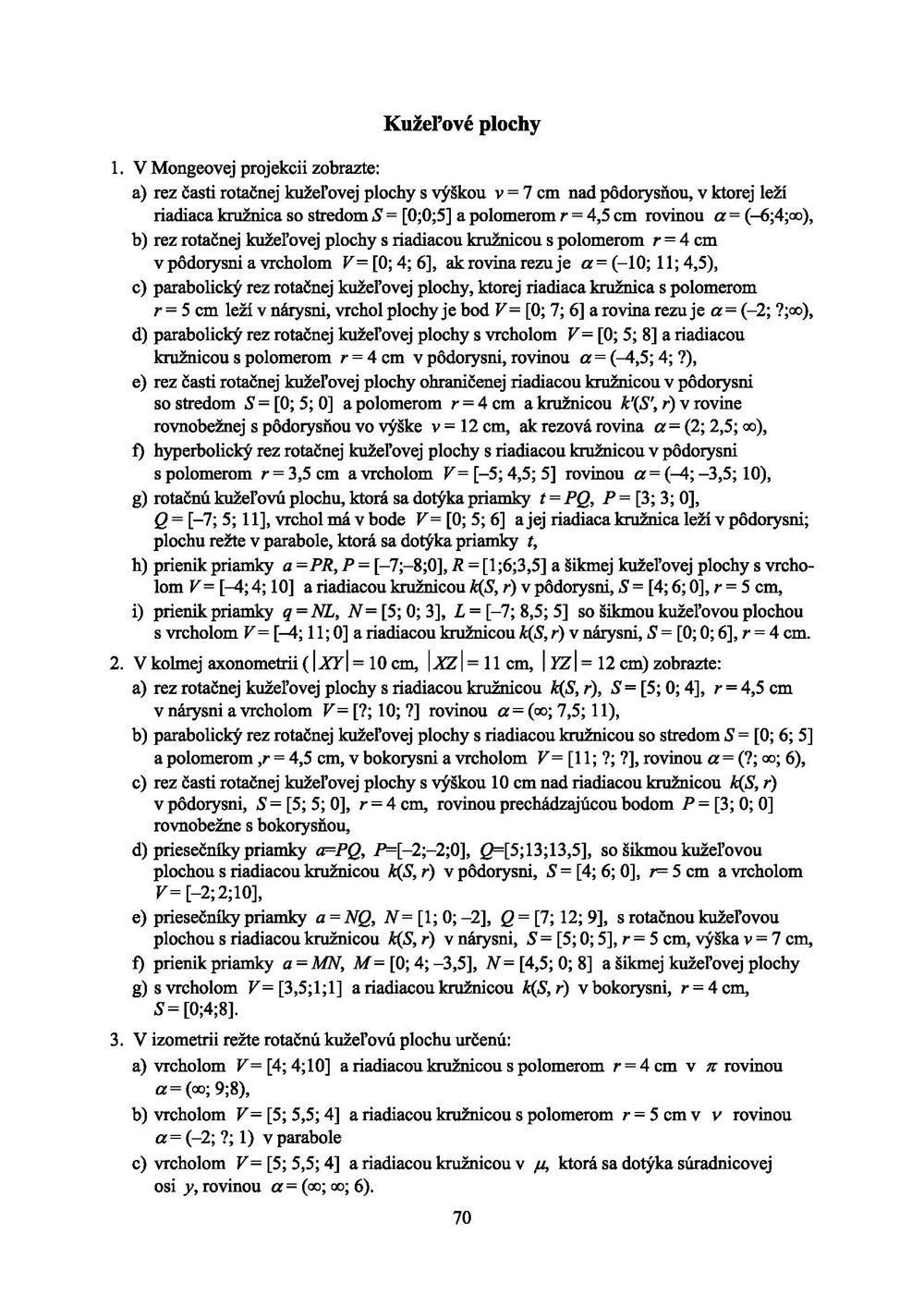 Konštrukčná geometria, Pracovné listy a úlohy 3
