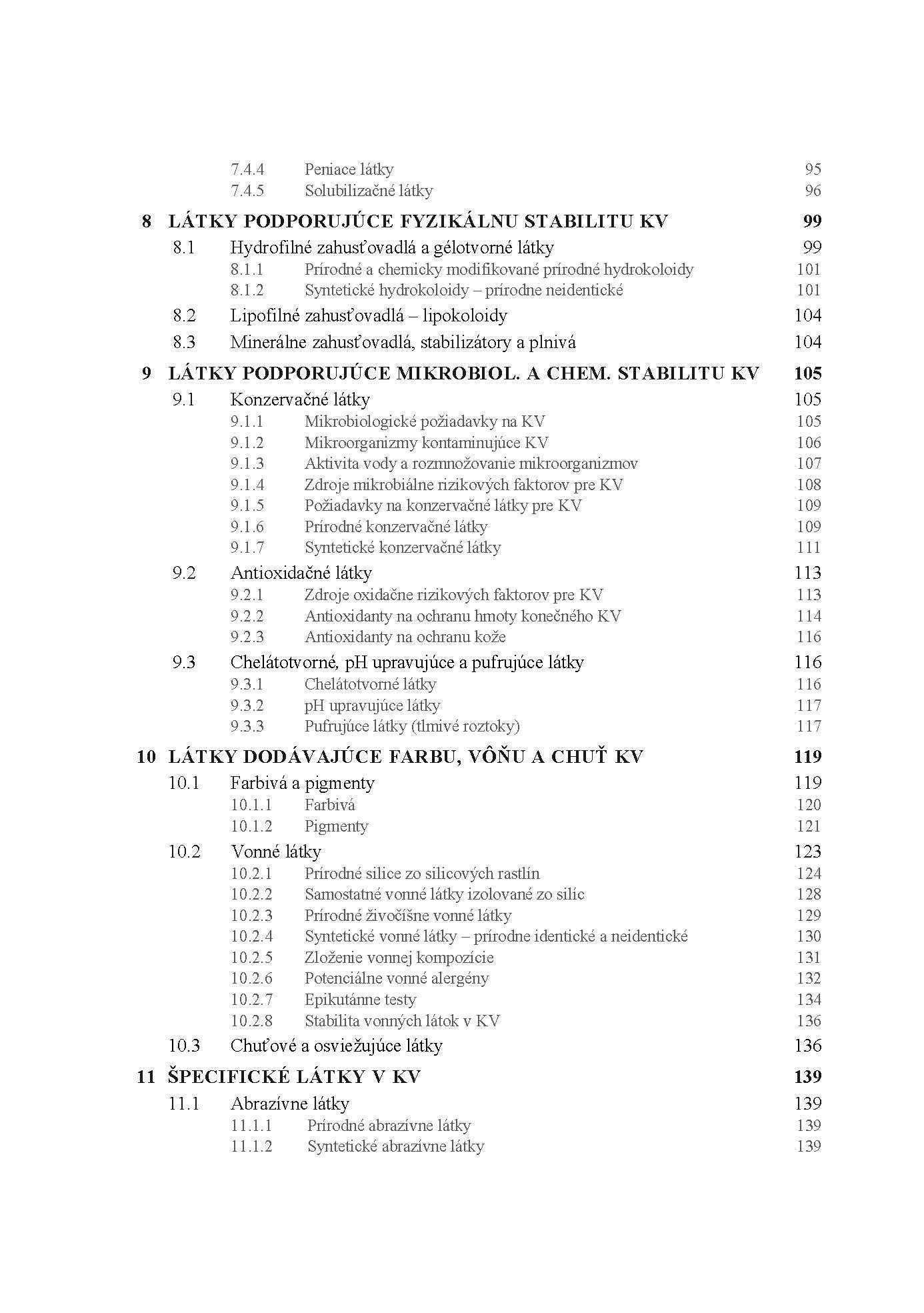 Kozmetická chémia a technológia, 1. časť. Kozmetická chémia 4