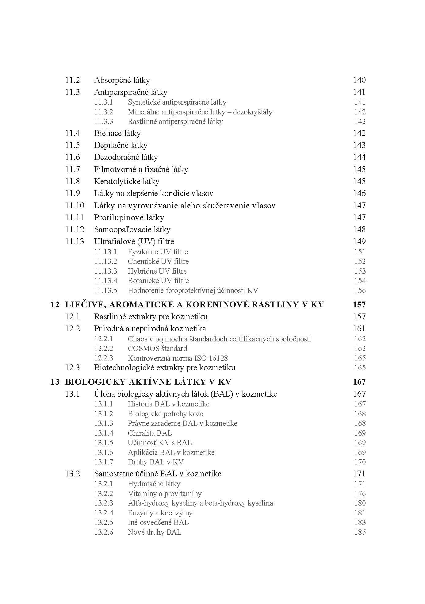 Kozmetická chémia a technológia, 1. časť. Kozmetická chémia 5